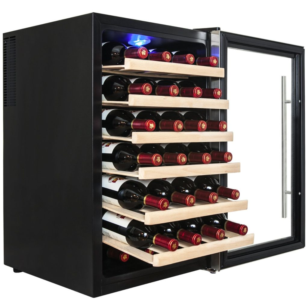 firebird_28_bottle_freestanding_thermoelectric_wine_cooler_door_open