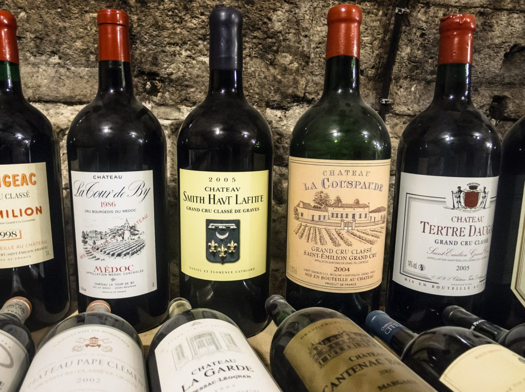 French Wine Bottles Stone Wall