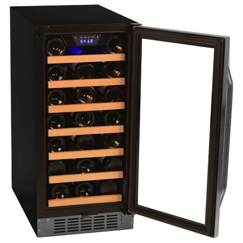 EdgeStar 30 Bottle Stainless Steel Built-In Wine Cooler-door-open